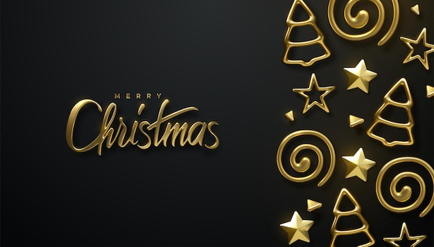 Merry christmas holiday golden lettering sign and christmas tree ornament shapes on black background