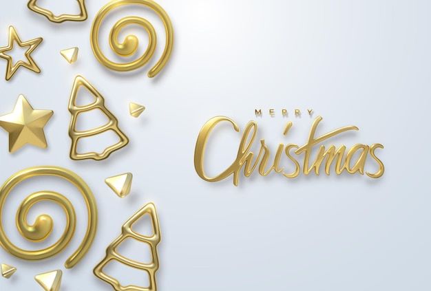 Merry christmas holiday golden lettering sign and christmas tree ornament shapes on white background