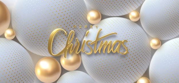 Merry christmas holiday golden lettering sign with golden and white balls