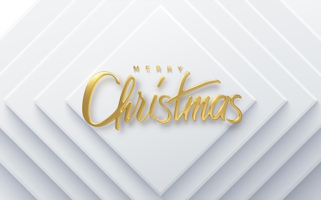 Merry christmas holiday golden lettering on white paper cut background