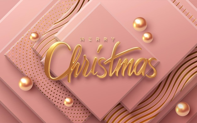 Merry christmas holiday golden sign on geometric pink background