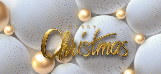 Merry christmas.   holiday illustration. golden 3d lettering. realistic shiny sign on soft spheres or balls background.