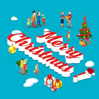 Merry christmas holiday isometric concept vector illustration.