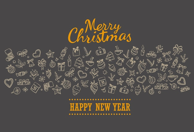 Merry christmas holiday lettering greeting card. merry christmas and happy new year