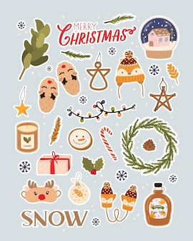 Merry christmas holiday lettering and traditional christmas elements. big vector set for christmas in scandinavian style. scrapbooking, stickers