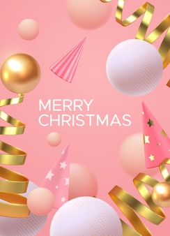 Merry christmas holiday sign with abstract 3d shapes on soft pink background