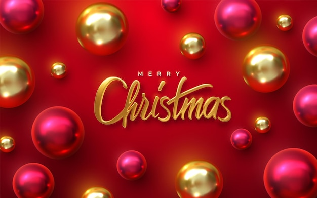 Merry christmas holiday sign with christmas ball baubles on red background