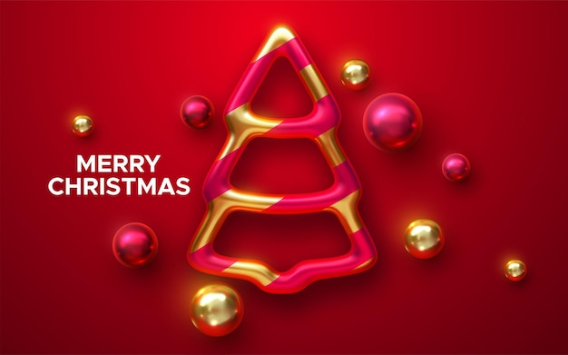 Merry christmas holiday sign  with shiny christmas tree bauble and balls on red background