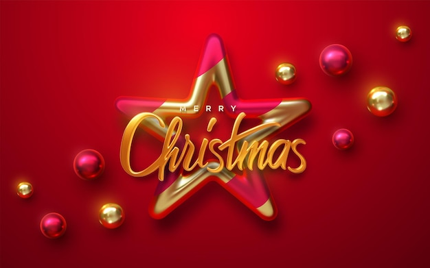 Merry christmas holiday sign with star and christmas ball baubles on red background