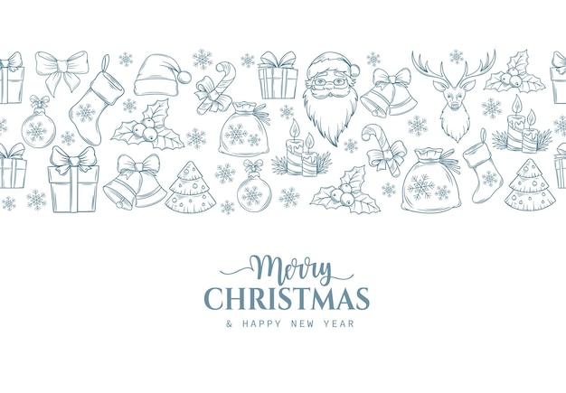 Веселых рождественских праздников бесшовные границы с контурным подарком Premium векторы