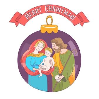 Merry christmas. the holy family. christmas ball.