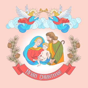 Merry christmas. the holy family.
