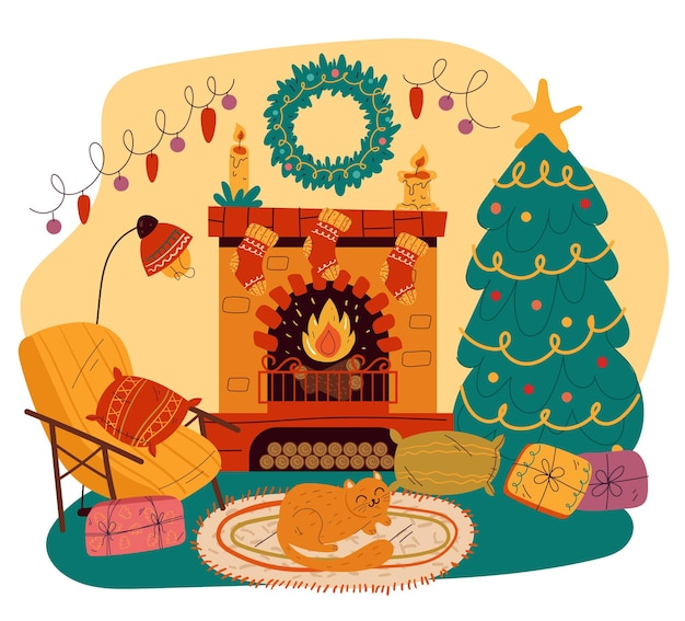 메리 크리스마스 홈 거실 인테리어 디자인 요소 손으로 그린 평면 만화 그림