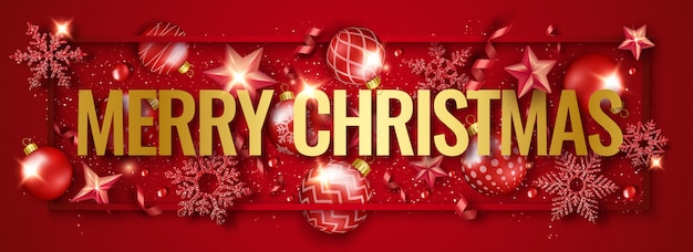 Merry christmas horizontal banner with shining snowflakes, ribbons, stars and colorful baubles