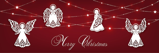 Merry christmas horizontal greeting card. white angels, garland with shine stars isolated