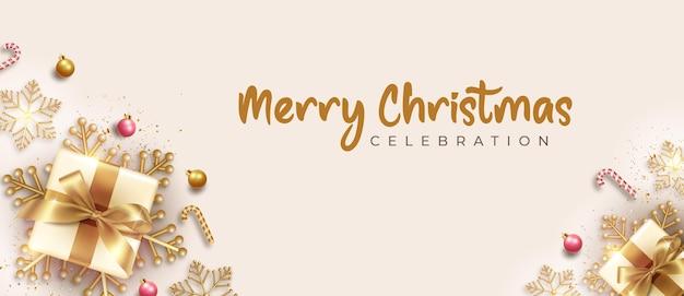 Счастливого рождества горизонтальный реалистичный баннер с золотым рождественским элементом украшения