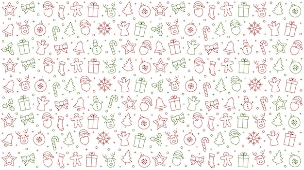 Merry christmas icon pattern elements isolated background