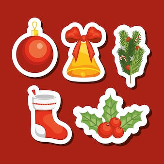 메리 크리스마스 아이콘이 빨간색 배경 위에 설정