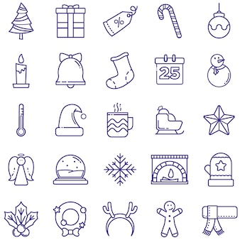 Merry christmas icons pack