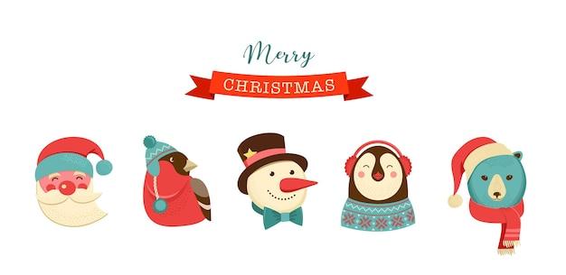 メリークリスマスのアイコン、レトロなスタイルの要素と文字、イラスト、タグ、ラベル