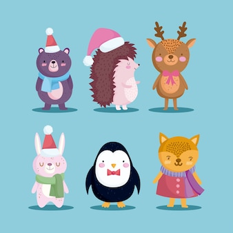 Счастливого рождества, набор иконок ежик медведь северный олень пингвин и кролик иллюстрация
