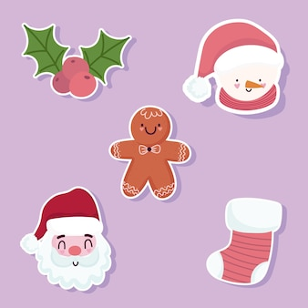 Merry christmas icons set santa snowman faces gingerbread man and sock