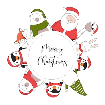 Merry christmas illustration card with penguin rabbit giraffe santa claus polar bear fox and elf