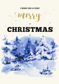 Merry christmas illustration greeting card with winter landscape