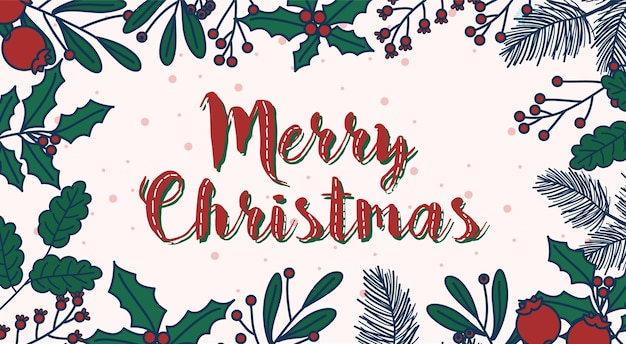 Merry christmas  illustration for postcard.