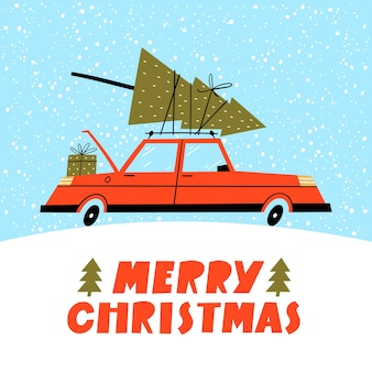 Merry christmas illustration. winter landscape with red retro car and tree