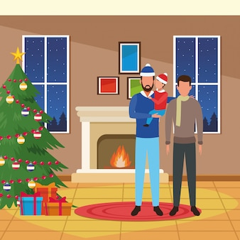 Merry christmas illustration with avatar man with little boy