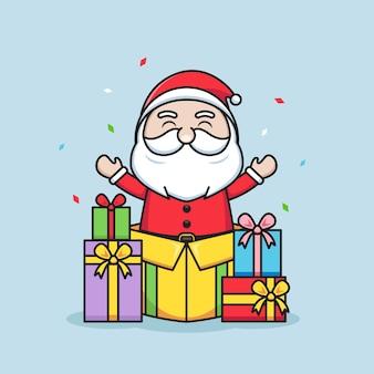 귀여운 산타 클로스와 함께 메리 크리스마스 일러스트