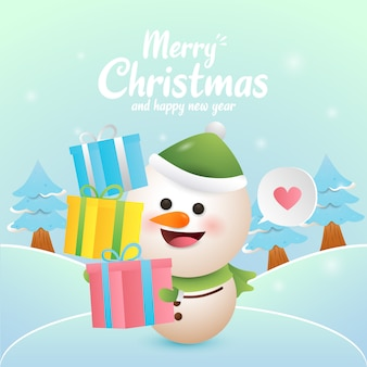 Merry christmas illustration with cute snowman