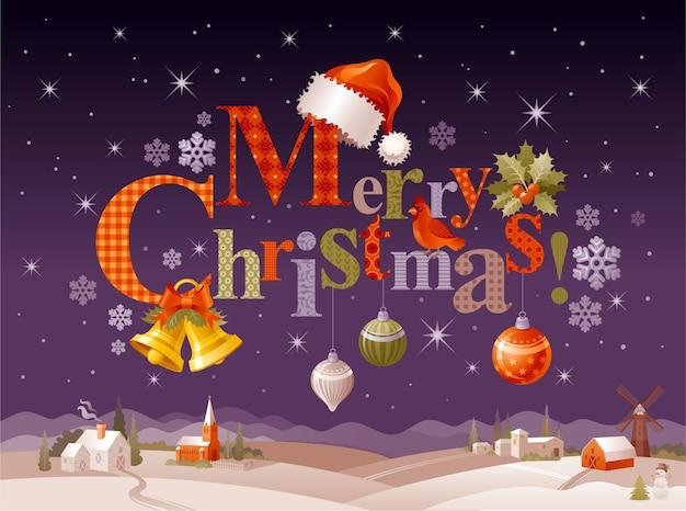 装飾的な要素とメリークリスマスのイラスト