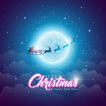 Merry Christmas Illustration with Flying Santa in the Moon on Blue Night Sky Background.