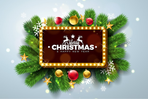 Merry christmas  illustration with lighting sign board
