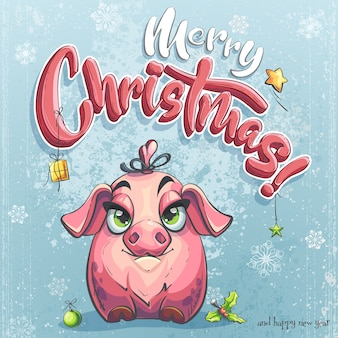 Merry christmas illustration with little piggy