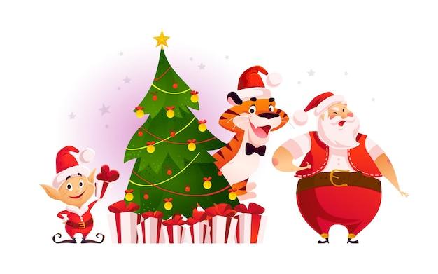 装飾されたモミの木とギフトで小さなサンタエルフ、虎、サンタクロースとメリークリスマスのイラスト。ベクトルフラット漫画スタイル。バナー、セールカード、ポスター、タグ、ウェブ、チラシ、広告用。