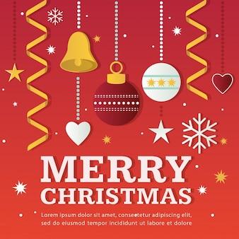 装飾品とメリークリスマスイラスト