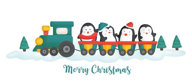 電車の中でペンギンとメリークリスマスイラスト。