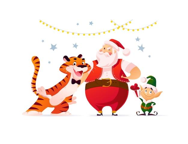 サンタクロース、虎のマスコット、エルフとメリークリスマスのイラストが孤立して祝います。ベクトルフラット漫画スタイル。バナー、セールカード、ポスター、タグ、ウェブ、チラシ、広告などに。