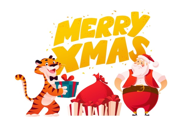 Merry christmas illustration with text greeting, tiger character, santa claus and presents isolated. vector flat cartoon style. for banners, sale cards, posters, tags, web, flyers, advertisement etc.