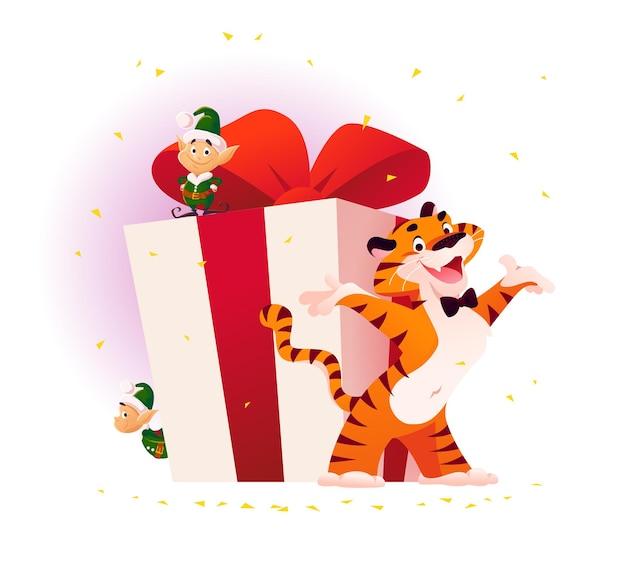 分離された大きなギフトボックスで虎と小さなサンタのエルフとメリークリスマスのイラスト。ベクトルフラット漫画スタイル。バナー、セールカード、ポスター、タグ、ウェブ、チラシ、広告などに。