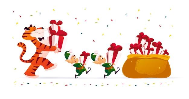 虎と小さなサンタのエルフとメリークリスマスのイラストは、分離されたクリスマスプレゼントを運びます。ベクトルフラット漫画スタイル。バナー、セールカード、ポスター、タグ、ウェブ、チラシ、広告などに。
