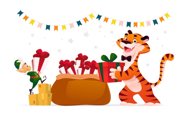 Merry christmas illustration with tiger, cute santa elf and big bag full of xmas presents isolated. vector flat cartoon style. for banners, sale cards, posters, tags, web, flyers, advertisement etc.