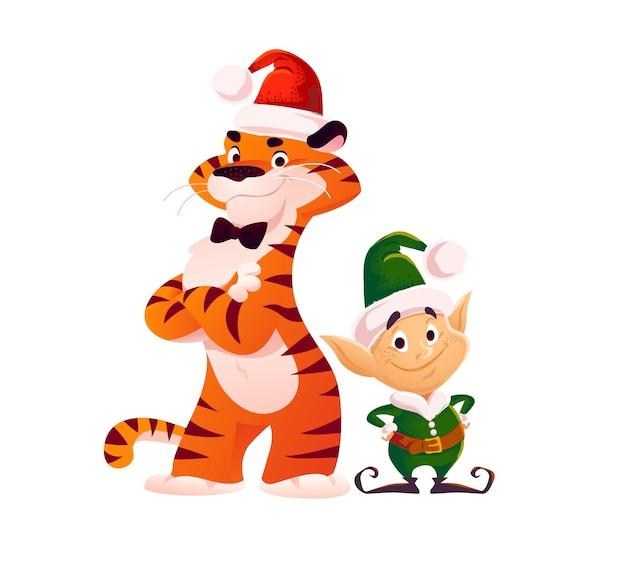 サンタの帽子をかぶった虎と小さなエルフのスタンドが分離されたメリークリスマスのイラスト。ベクトルフラット漫画スタイル。バナー、セールカード、ポスター、タグ、ウェブ、チラシ、広告などに。