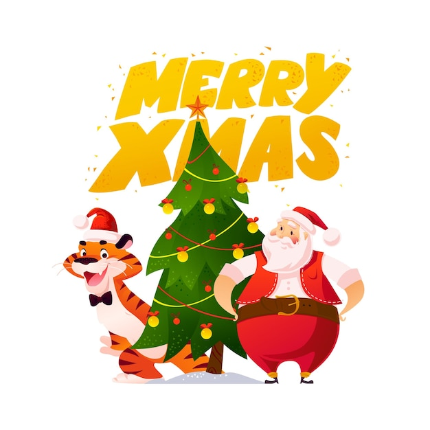 Merry christmas illustration with tiger in santa hat, santa claus at decorated fir tree isolated. vector flat cartoon style. for banners, sale cards, posters, tags, web, flyers, advertisement etc.