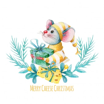 Merry christmas illustration with watercolor mouse and cheese