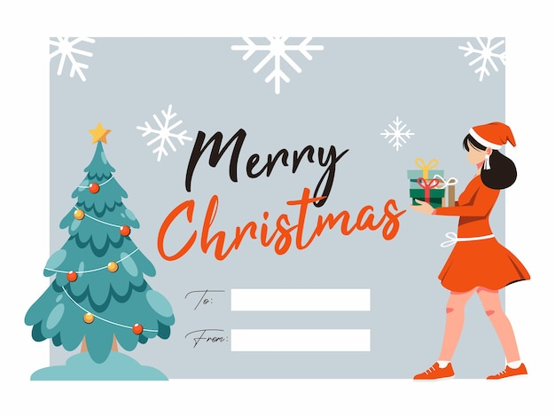 Merry christmas illustrations greeting card with christmas tree and women bring gift box
