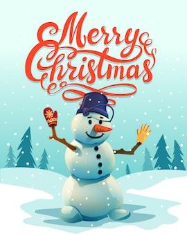 Надпись с рождеством и вырезать снеговик.